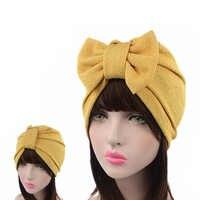 Bonnet solide musulman femmes grand Bowknot Stretch Hijab Turban chapeau écharpe chapeaux casquette tête Wrap chimio bonnets arcs accessoires de cheveux