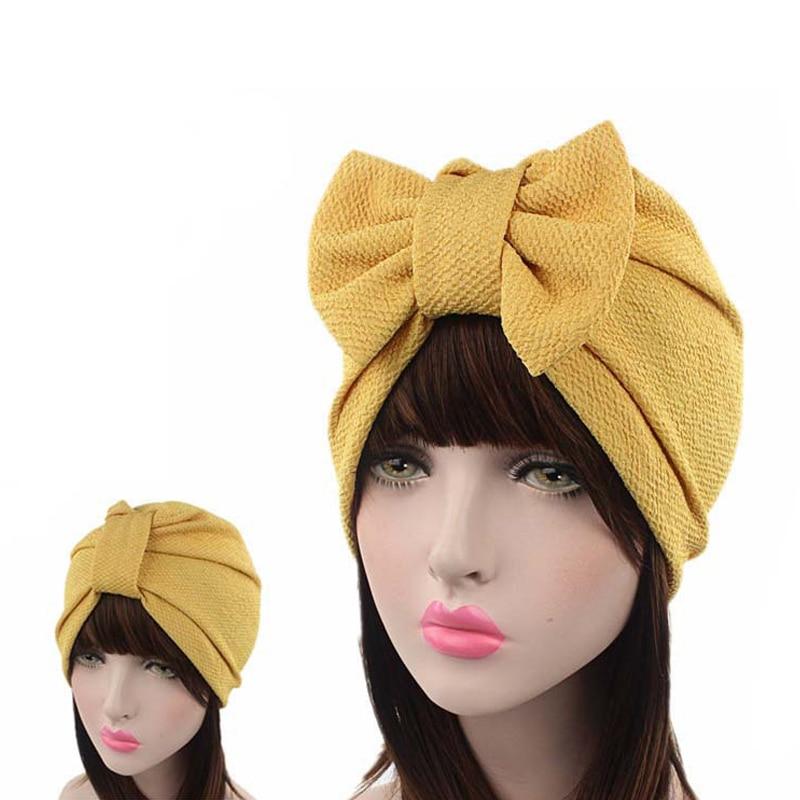Muslim Solid Bonnet Womens Big Bowknot Stretch Hijab Turban Hat Scarf Headwear Cap Head Wrap Chemo Beanies Bows Hair Accessories