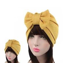 Muslim sólida bonnet womens grande bowknot estiramento hijab turbante chapéu cachecol boné cabeça envoltório quimio beanies arcos acessórios de cabelo