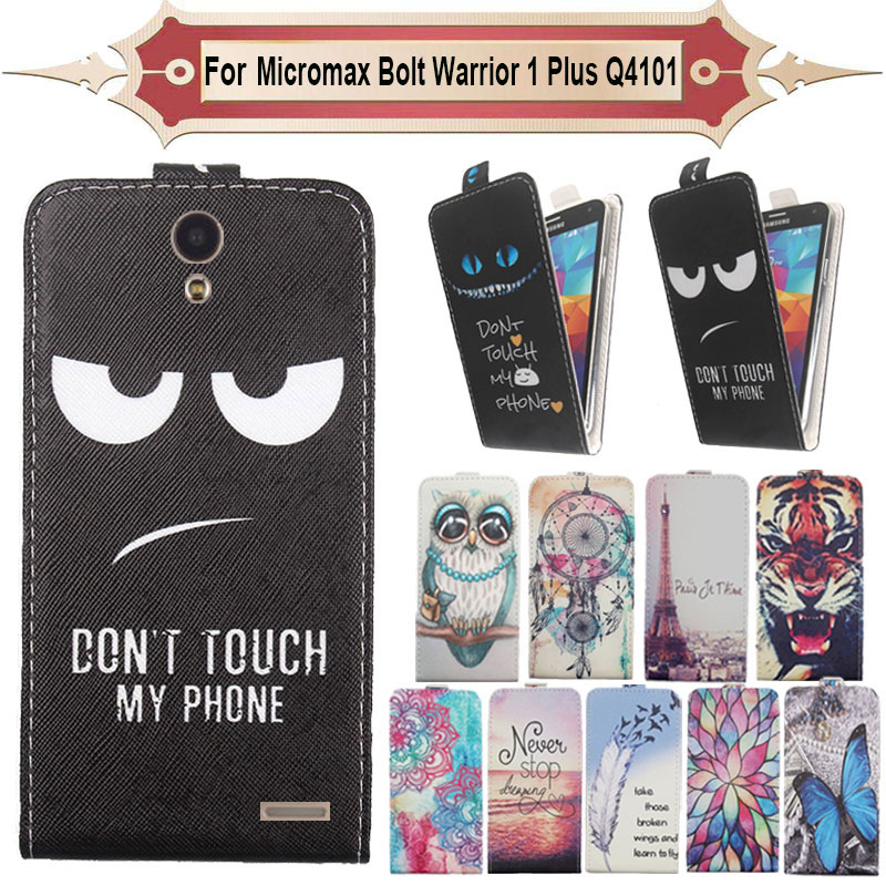 Top Selling 11 Colors Cartoon Pattern Up and Down Flip PU Leather Case For Micromax Bolt Warrior 1 Plus Q4101
