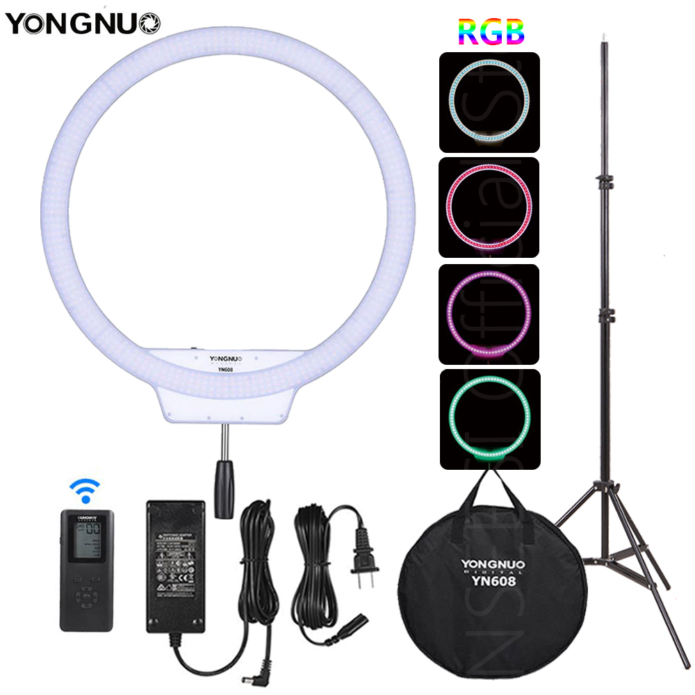 YONGNUO YN608 RGB LED Ring Light Photography Video Light RGB Full Color With Remote Controller For Video Live Selfie Makeup Live