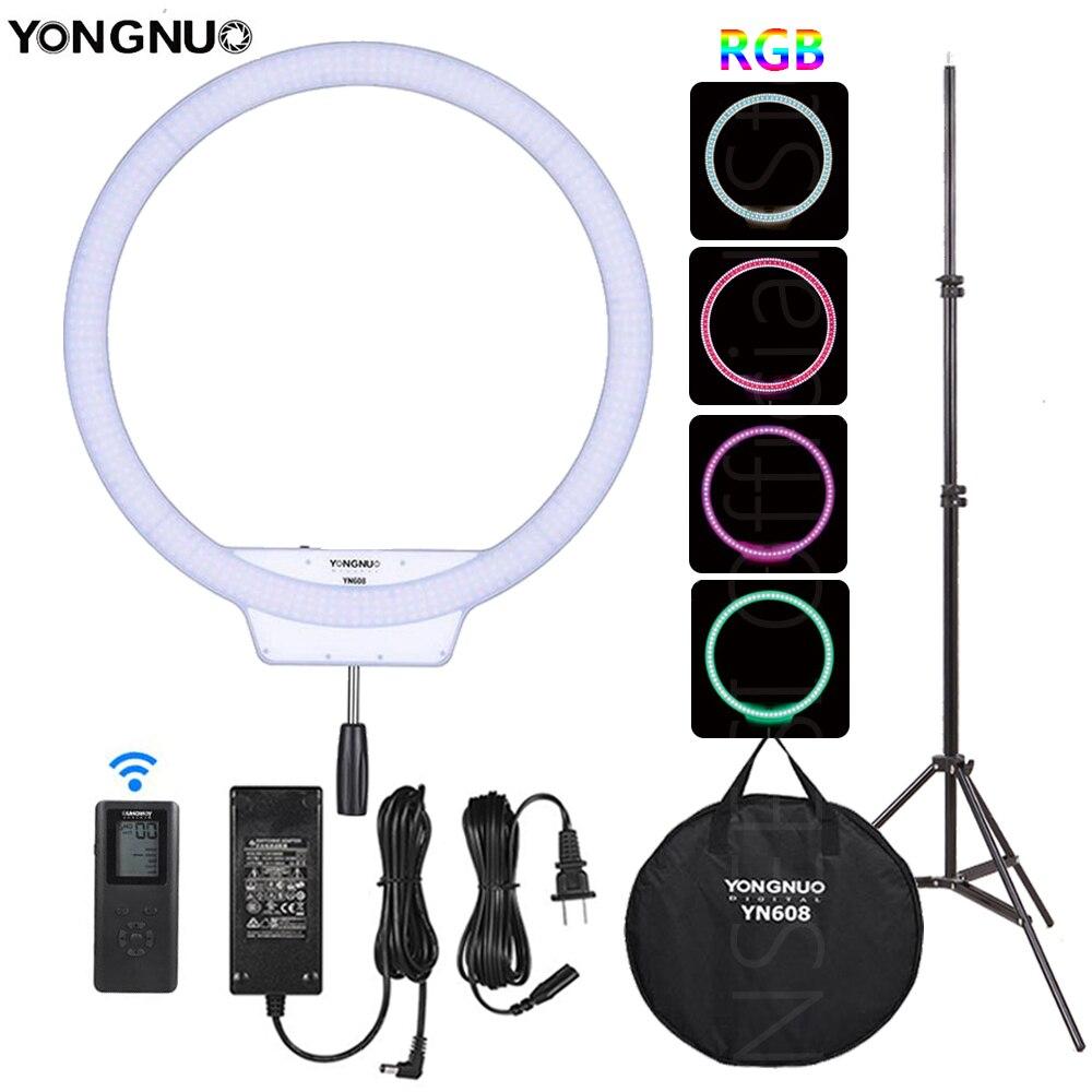 YONGNUO YN608 цветное светодиодное кольцо свет фотографии видео RGB полный цвет с пульта дистанционного управления для видео Live селфи макияж Live