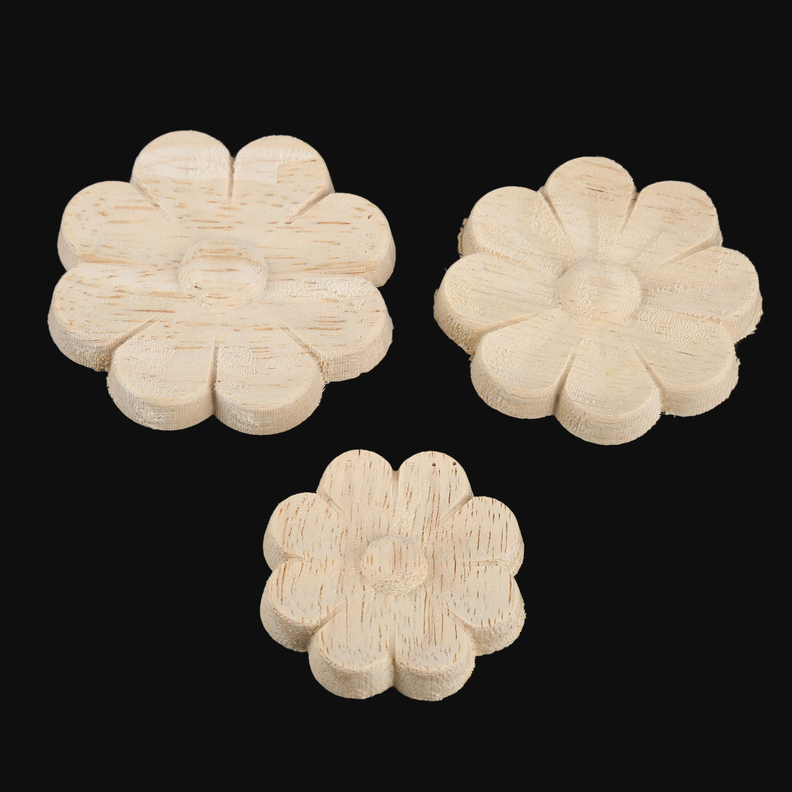 10Pcs 4 5 6cm Floral Wood Carved Decal Corner Appliques Wall Furniture Woodcarving Decorative Wooden Figurines Crafts Home Decor in Figurines Miniatures from Home Garden
