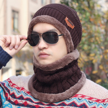 Two-Pieces Suits Men's Fashion Men's Winter Hats Plus Velvet Thickening Hat Male Knitted Hat Pocket Hat Ear Cap Covering Beanie