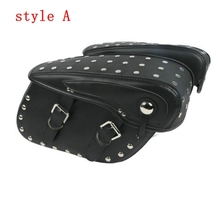 Motorcycle PU Leather Saddlebags For Harley Sportster 883 1200 CVO Dyna Softail Chopper Street Bob Fat Bob FXDB FXDF 5 twin dual daymaker led headlight for harley dyna fat bob fxdf model daymaker led lamp 5 fat bob projector led headlights