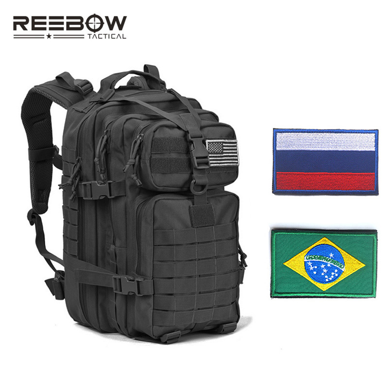 REEBOW TACTICAL Military Assault Backpack with Flag Patches Army Molle Waterproof Bug Out Rucksack for Outdoor Camping Hunting