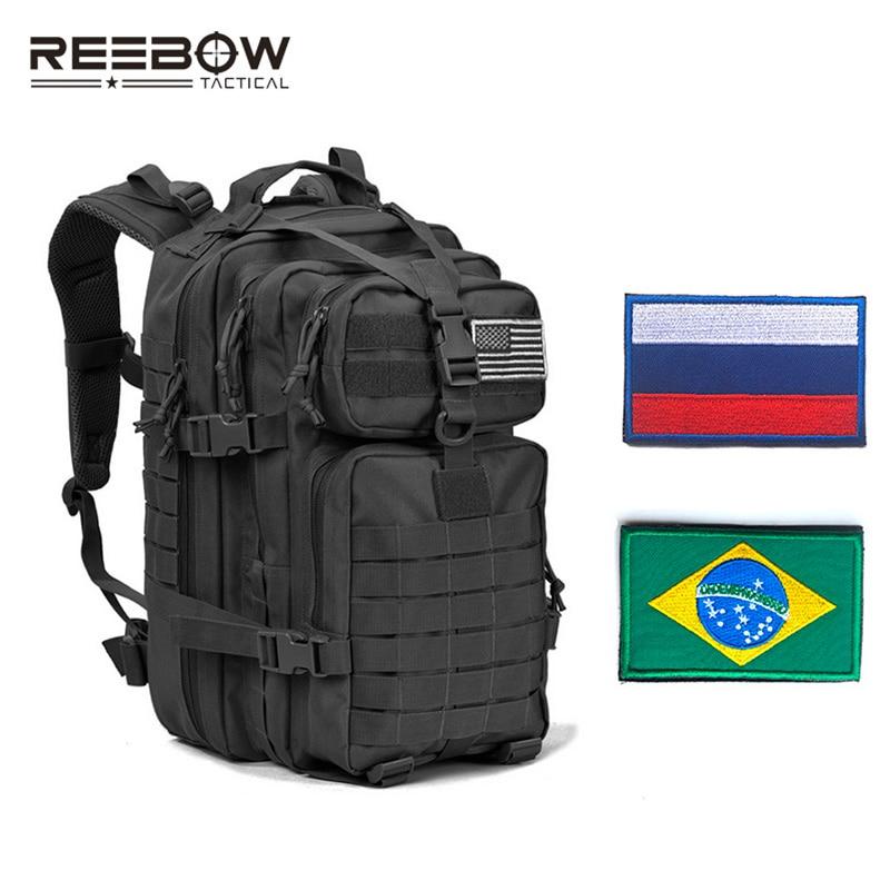 Sac à dos d'assaut militaire tactique REEBOW avec patchs de drapeau armée Molle imperméable à l'eau sac à dos pour Camping en plein air chasse