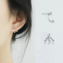 Hot Sale Silver Asymmetry Beads Ball Stud Earrings 925 Three Beans for Women Fashion Jewelry