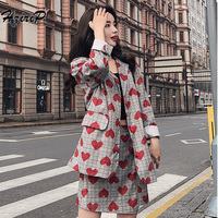 Hzirip Women Business Spring Autumn Love Print Suits Single Breasted Blazer + Mini Skirts Formal Female Work Wear 2 Pieces Sets
