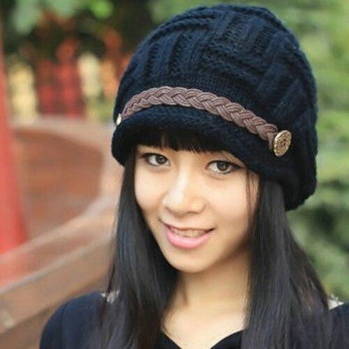 Womens Fashion Braided Autumn Winter Warm Baggy Beanie Knit Crochet Hat Cap 989D