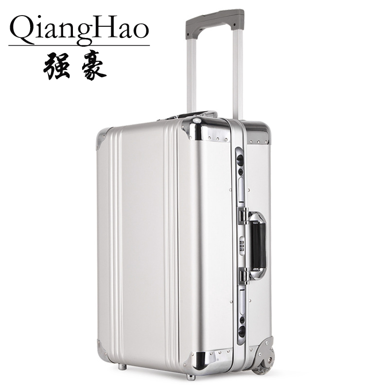 QiangHao 20 inch Rolling Carry Trolly Suitcase Aluminum Alloy Rolling Luggage Trolley Case High Quality Hand luggage bag travel aluminum blue dji mavic pro storage bag case box suitcase for drone battery remote controller accessories