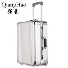 QiangHao 20 inch Rolling Carry Trolly Suitcase Aluminum Alloy Rolling Luggage Trolley Case High Quality Hand luggage bag