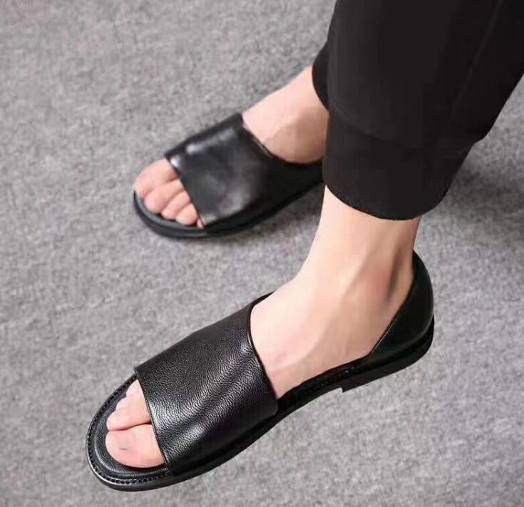 high-quality-summer-men's-sandals-fisherman-genuine-leather-shallow-slip-on-seaside-casual-shoes-male-black-peep-toe-flats