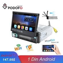 Podofo 1 din Radio samochodowe z androidem GPS wbudowany WIFI automatyczny wysuwany ekran Bluetooth Stereo AM/FM/RDS Radio Mirror Link