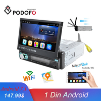 Podofo 1 din Android Car Radio GPS Built in WIFI Automatic Retractable Screen Bluetooth Stereo AM/FM/RDS Radios Mirror Link