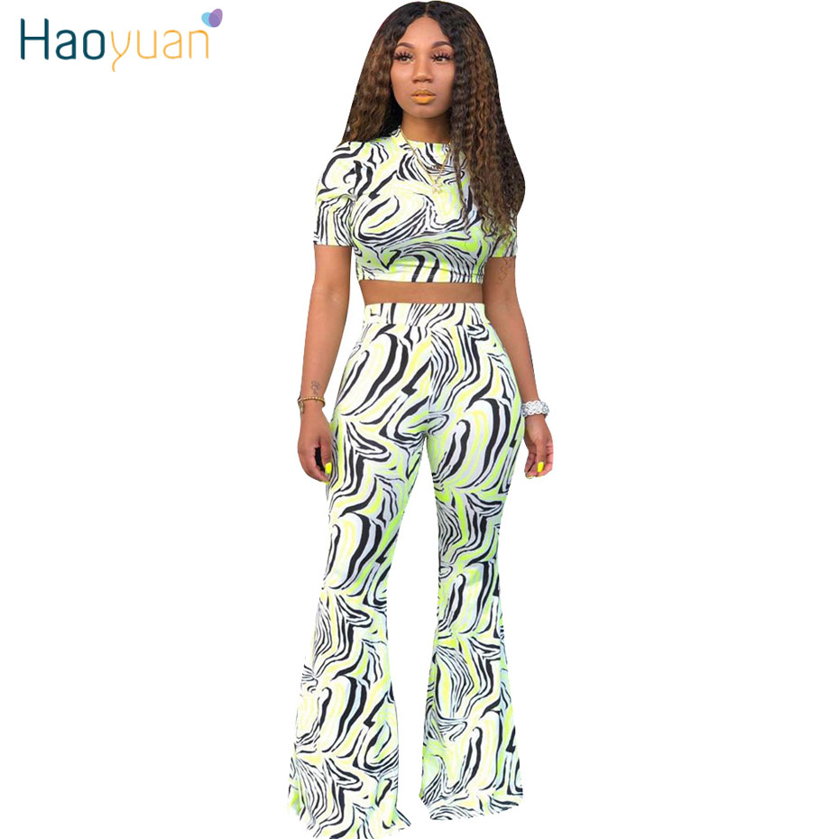 6572496efed1 HAOYUAN Zebra Print Two Piece Set Summer Clothes for Women Sexy Crop Top  and Wide Leg Pants Suit 2 Pice Outfits Matching Sets