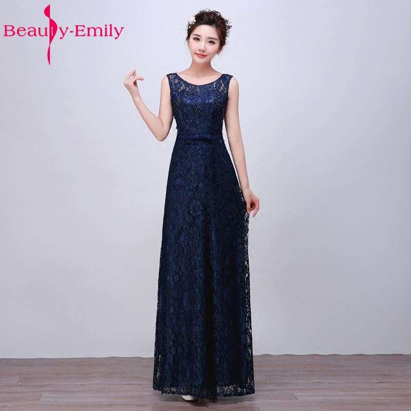 Beauty-Emily Women Pink Embroidery Lace Sleeveless Floor-Length Formal   Bridesmaid     Dresses   2017 Gown vestido de festa