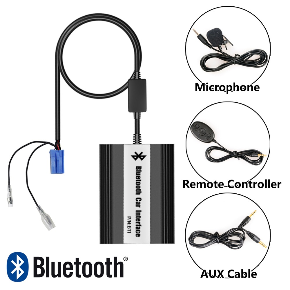 APPS2Car Integrated Hands Free Car Bluetooth Adapter USB AUX Jack Adapter for Renault Kangoo 2000 2010