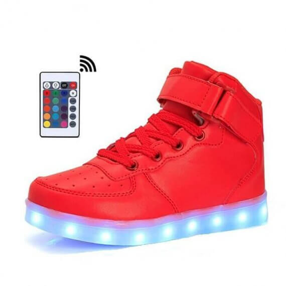 LED Shoes Womens Red High Top with Remote Control Red Colors Light Up USB Charging Casual Shoes for Men Flash in Night Shoes