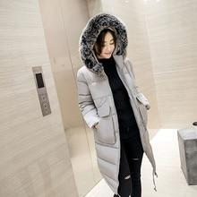 Женщины парки 2016New Зимнее Пальто Женщины Куртка Из Искусственного Меха Воротник с капюшоном женская Длинные Вниз Пальто Хлопка Куртка Casaco Плюс размер