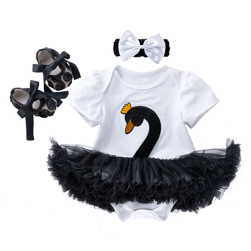 New Set Baby Girl 3Pcs Newborn Clothes Swan Short Sleeve Baby Girl Outfit 4 Colors Roupa Infantil Tutu Dress Headwear Shoes