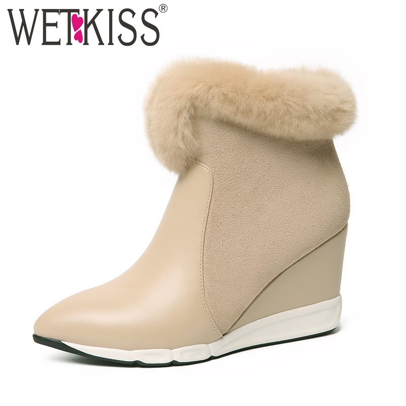 WETKISS High Heels Women Boots Pointed Toe Wedges Fur Footwear Cow Leather Female Ankle Boot Platform Shoes Women 2018 Winter wetkiss cow leather casual high heels women sandals metal decoration pointed toe wedges footwear 2018 summer girl platform shoes