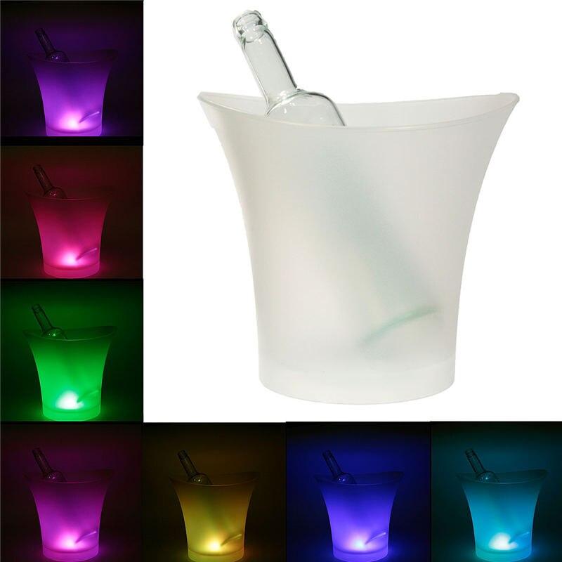 5L Vin Seau LED RGB Lumière Modifiable Glace Refroidisseur Champagne Vin Boissons Boissons Bière Bar Parti Outils 7 Couleurs