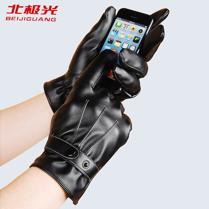 Image BEIJIGUANG Winter Warm Leather Gloves Men s Thicken Driver Elastic Buckle Car Suture Decoration Touching Screen Gloves