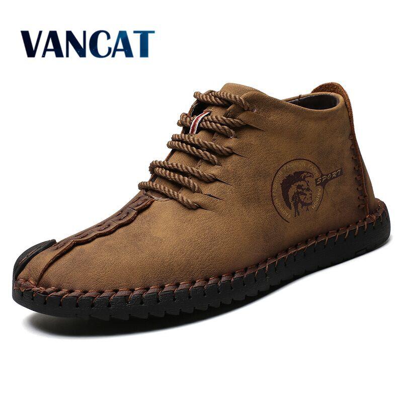 Vancat Men Split Leather Ankle Snow Boots Lace-Up Winter
