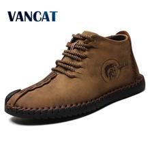 0b6ad7ce86593 Vancat mody mężczyzna buty wysokiej jakości skóra Split kostki śniegu buty  ciepłe pluszowe futerko sznurowane buty zimowe plus r.