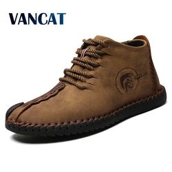 Vancat Fashion Men Boots High Quality Split Leather Ankle Snow Boots Shoes Warm Fur Plush Lace-Up Winter Shoes Plus size 38~48