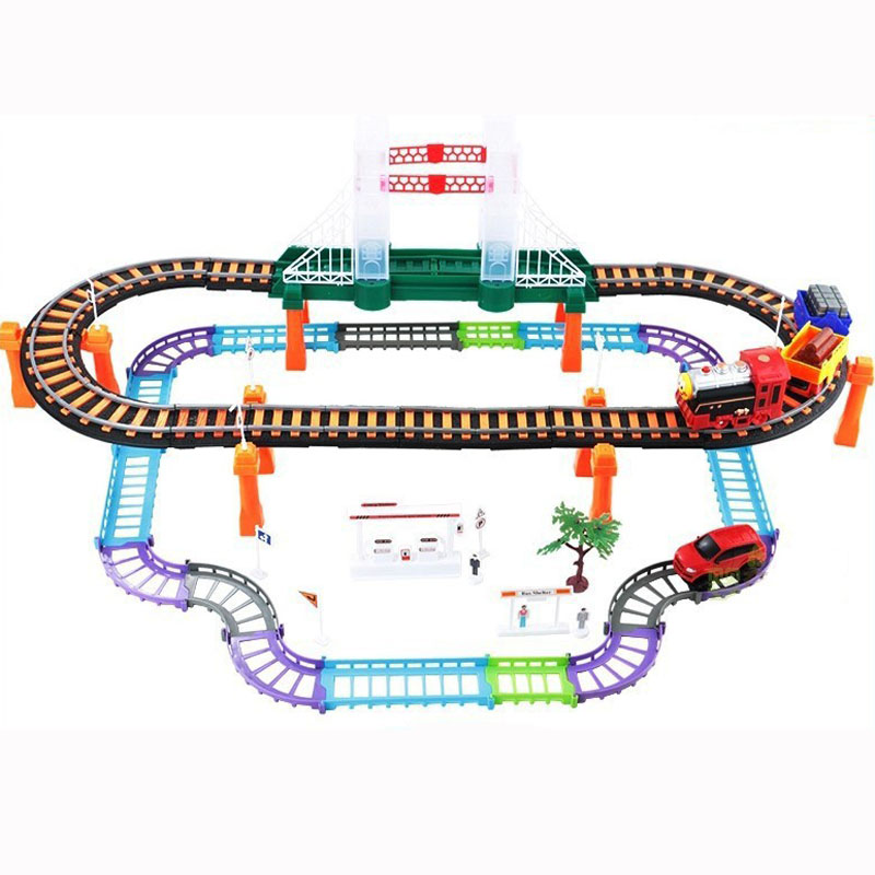 Two-layer Plastic Electric Railcar Childrens Puzzle Model Toys For Kids Gifts 338-11 ...