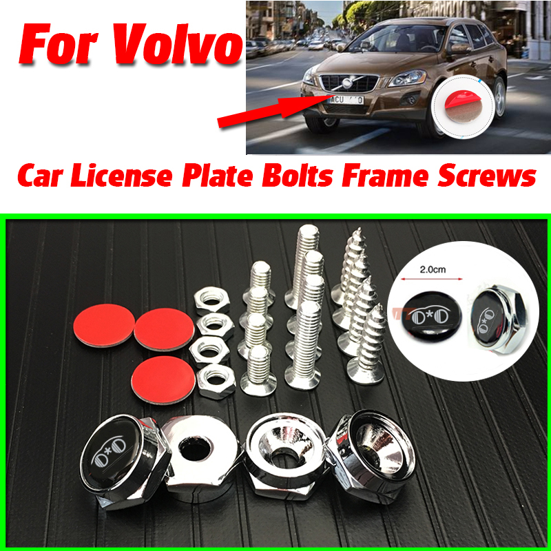 Bolts Car License Plate Frames Cap Sticker Decals Auto accessories for VOLVO S60L S80L XC60 S60 V60 V40 C30 S80 XC90 C70 P1800