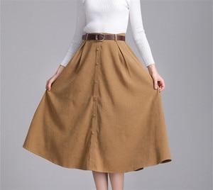 Image 2 - Colorfaith nowy 2018 Suede kobiety długa spódnica trzy czwarte jesień zima panie pasek w stylu vintage przyciski spódnica wysokiej talii Femininas SK6679