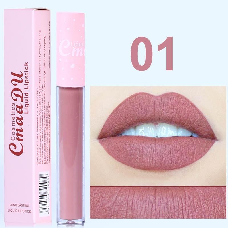 New CmaaDu 6 Color Natural Moisturizing Lipstick Matte Pink Tube Non-stick Cup Long Lasting Lip Gloss High Quality  Lip Tint