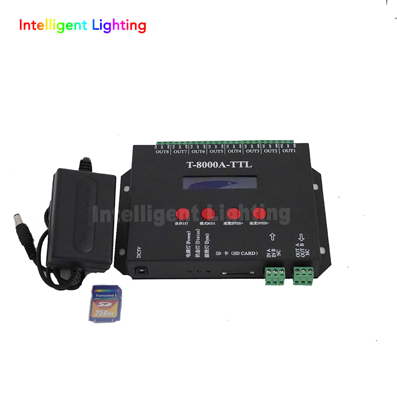 off-line sd card led pixel T8000A led controller with 8*1024 pixel for led strip t 4000 off line led sd card pixel controller spi 1024pixels 4ports with dmx512 port work with dmx console to select patterns