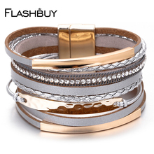 Flashbuy Multilayer Leather Bracelet For Women Charm Braided Wide Wrap Bracelets & Bangles Female Bohemian Style Jewelry