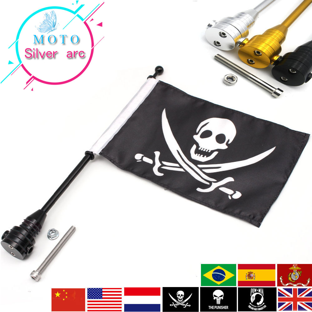 Chrome Motorcycle Rear Side Mount Flag Pole America Flag For Harley Luggage Rack 883 1200 partol black car roof rack cross bars roof luggage carrier cargo boxes bike rack 45kg 100lbs for honda pilot 2013 2014 2015