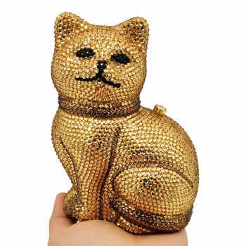 Boutique De FGG Lovely 3D Cat Women Golden Crystal Minaudiere Clutch Animal Evening Bags Ladies Formal Dinner Handbag and Purse