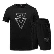 Summer Men Tracksuit Short Sleeve T-shirt Sweatshirt+pant Jogger Athletic Outfit Running Fitness Sport Set Sweat Suit Sportswear цены
