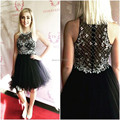 W021918 Cute 8th Grade Graduation Dresses Delicate Beading Mesh Party Dresses Tulle Mini Homecoming Dresses Black Vestido Curto