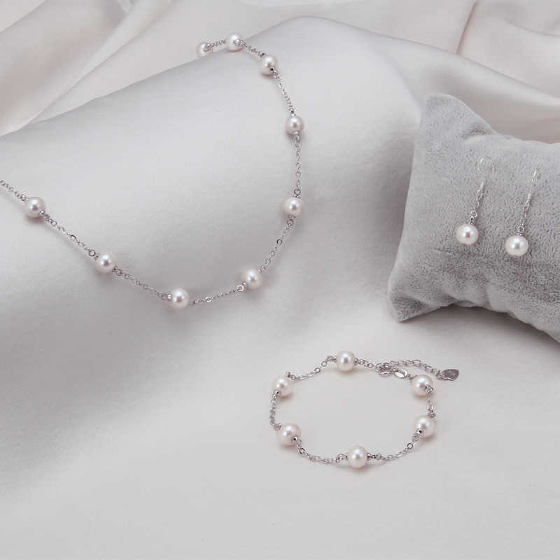 [DAIMI] Jewelry Set. 7.5-8mm Natural Freshwater Pearl For Women. Chain Necklace Bracelet Earrings Sets  NISSA