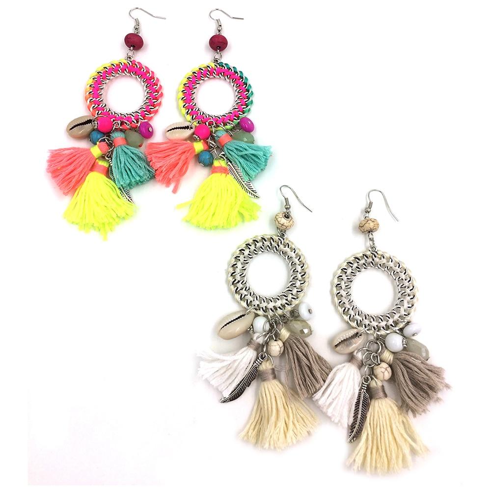 Neue ethnische böhmische baumeln Ohrringe mit Baumwollquaste-bunten - Modeschmuck - Foto 6