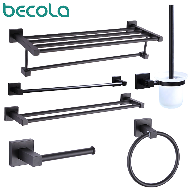 55CM Matte Black Double Towel Bars Bathroom Towel Hanger Space Aluminum Bathroom Accessories Towel Rack Towel Ring  Toilet Brush