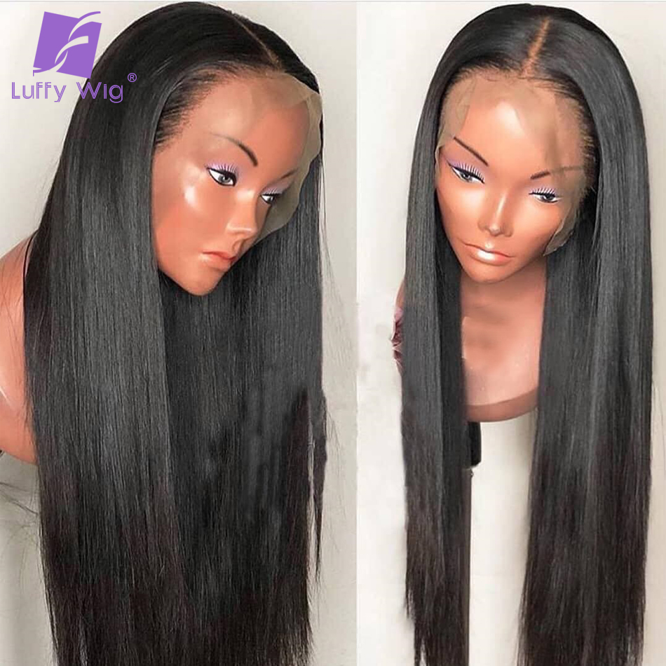 Луффи шелковистые прямые предварительно сорвал Full Lace натуральные волосы парики с ребенком волос 130% плотность бесклеевого бразильский пари...