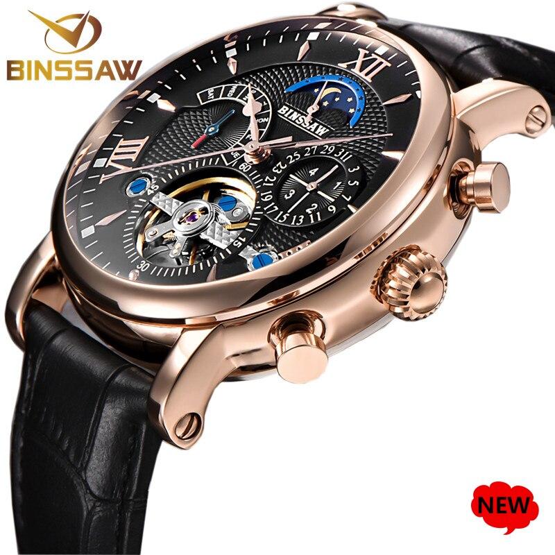 BINSSAW 2018 New Men Automatic Mechanical Tourbillon Watch Men Fashion Leather Brand Military Sports Watches Relogio Masculino