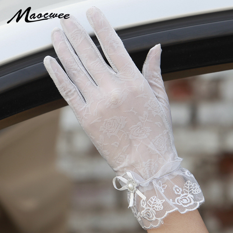 2018 Spring And Summer Women Vintage Sunscreen Sexy Lace Gloves Lady Anti-uv Gloves Female Driving Outdoor Glove 26 Color Gloves