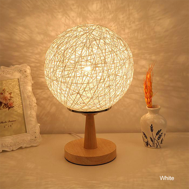 Led Night Stand With Bulb Ball Table Lamp Shade Modern Art Deco Beside Blue Orange Red