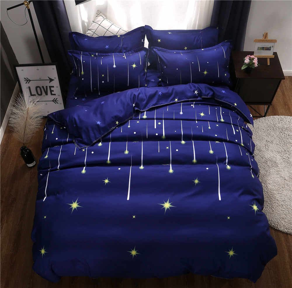 Blue Night Meteor Star Pattern Duvet Cover 3/4pcs Bedding Set Adult Kids Child Soft Cotton Bed Linen Single Twin Queen King Size