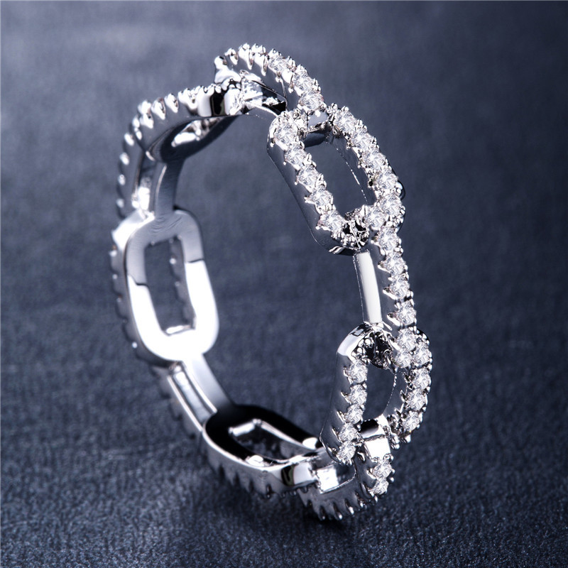 Creative Chain Design Women Ring With Micro Paved Destiny Link